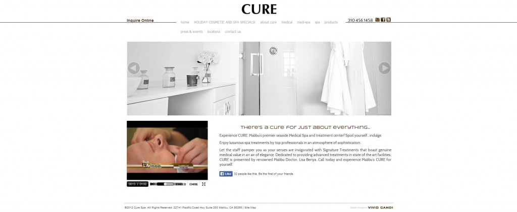 cure med spa website