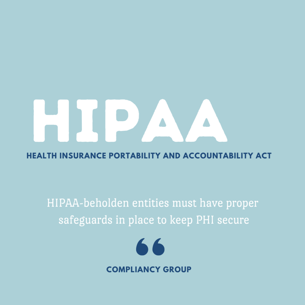 What HIPAA stands for is health insurance portability and accountability act. HIPAA entities must have proper safeguards in place to keep PHI secure